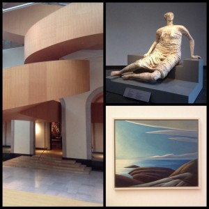 Gehry staircase, Draped Woman Seated, and Lake Superior III